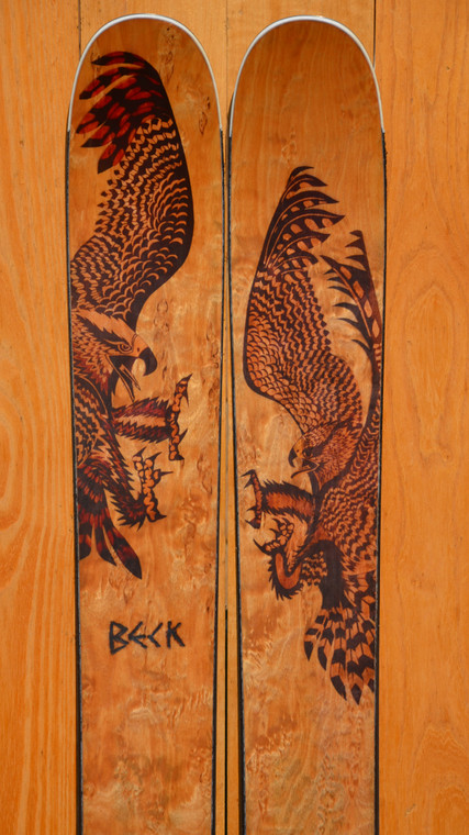 FRS powder skis with Birds Of Prey artwork on karelian birch wood veneer by artist Craig Beck