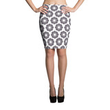 Pencil Skirt | BLACK & WHITE FLOWERS
