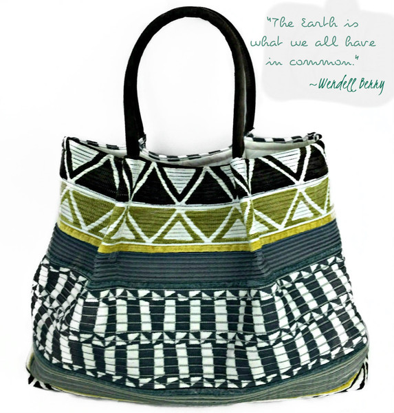 Lola Tote | Tahoe Stripe/ Green Earth.