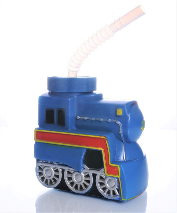 Blue Train Cup With Lid & Straw Set