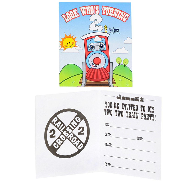 Two-Two Train 2nd Birthday Invitations