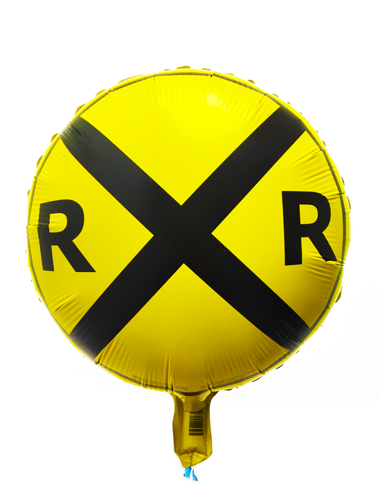 Railroad Crossing Sign Foil Balloon