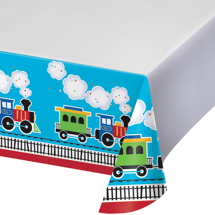 All Aboard Train Party Tablecover