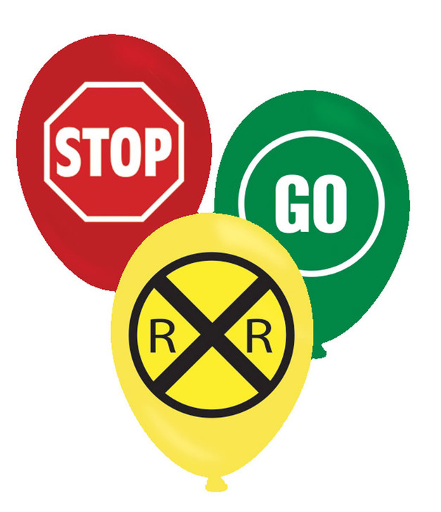 Stop and Go Sign Party Latex Balloons (6 ct)