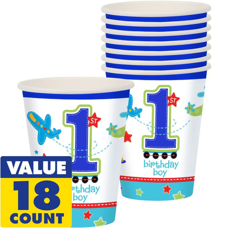1st Birthday Boy Party Cups (18ct)