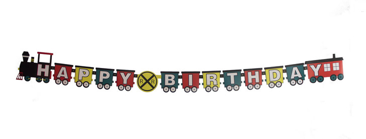 Railroad Crossing Train Party Birthday Letter Banner