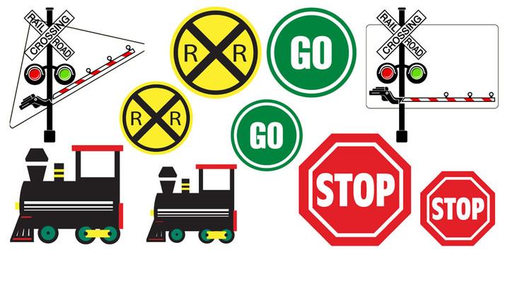 Railroad Crossing Train Party Decorative Cutouts