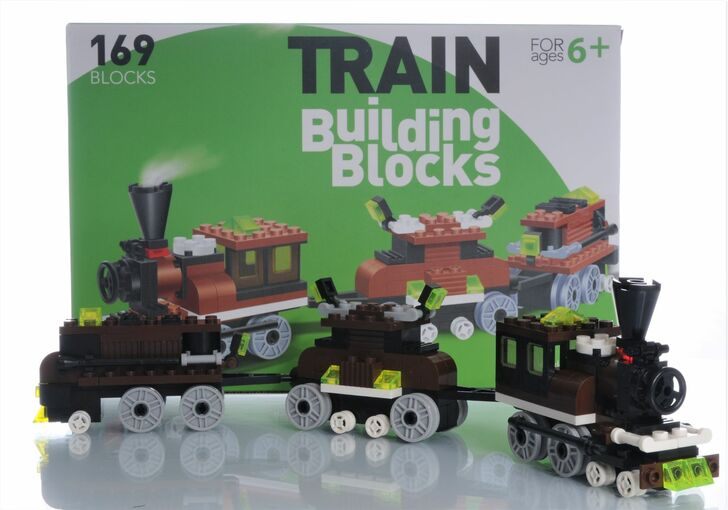 Train Building Blocks 169 Piece Engine and 2 Cars