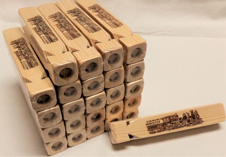 4-Tone Wooden Train Whistle Bulk Pack of 25
