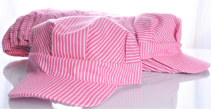 Girls Striped Engineer Hat (PINK) Pack of 25