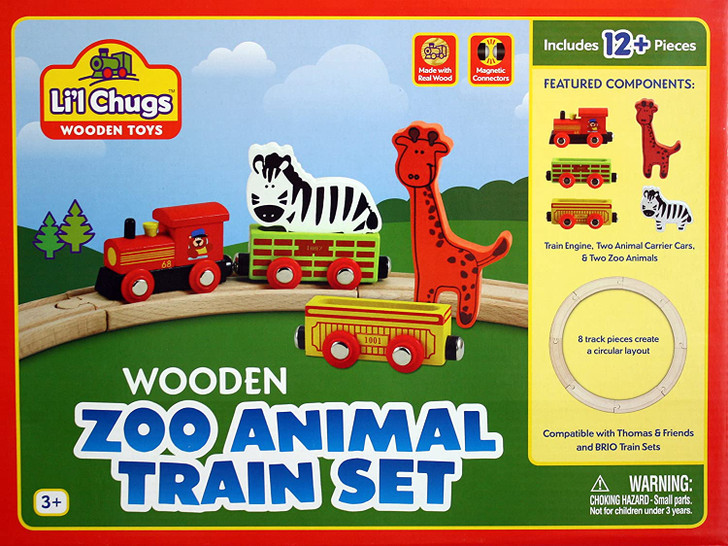 Lil' Chugs Wooden Zoo Animal Train Set