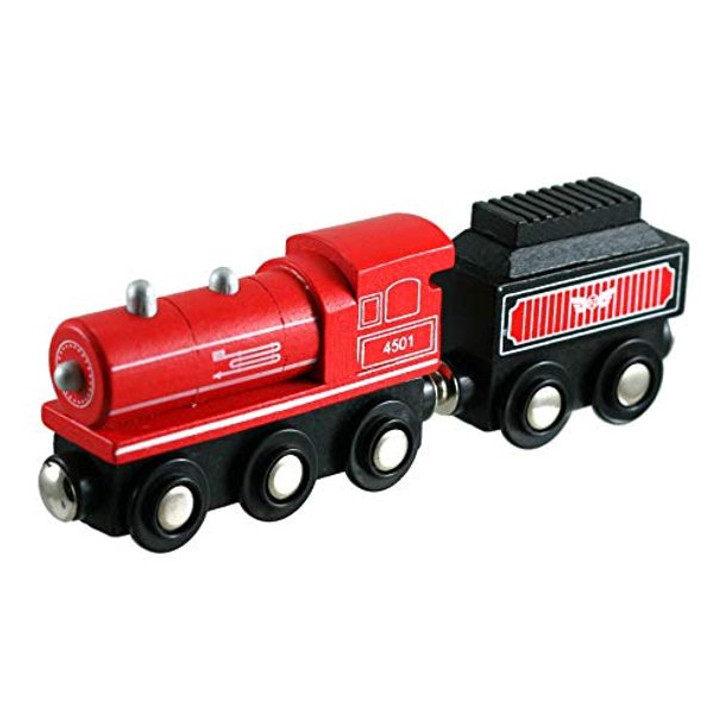 Lil Chugs Wooden Trains Steam Locomotive And Coal Tender Red
