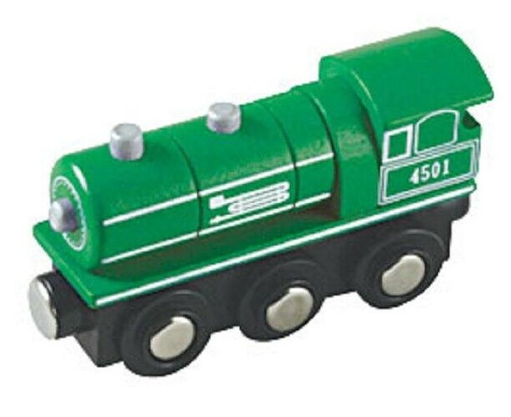 Li'l Chugs Wooden Trains Green Steam Engine Locomotive