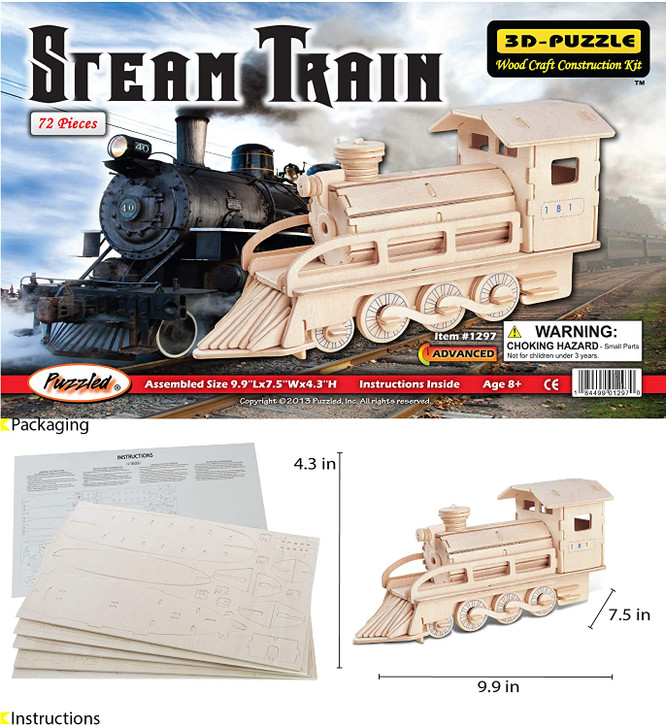 Steam Train 3D- Puzzle Wood Craft Construction Kit 72pc