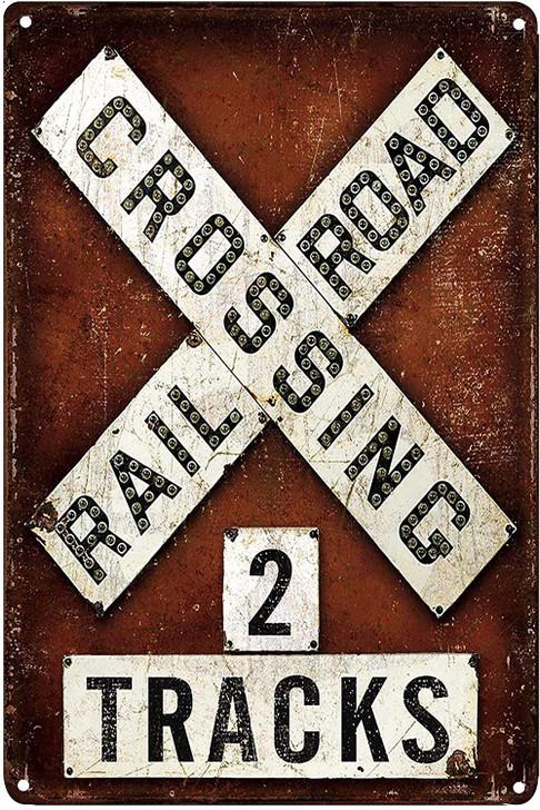Railroad Crossing 2 Tracks Metal Tin Sign