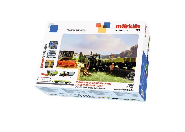 Farming Train Low-Side Car, Machinery and Track Extension Set - 3-Rail -- Claas (green, white, red)