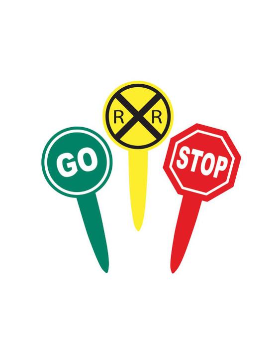 Railroad Crossing STOP- GO- Cupcake Picks (24ct)
