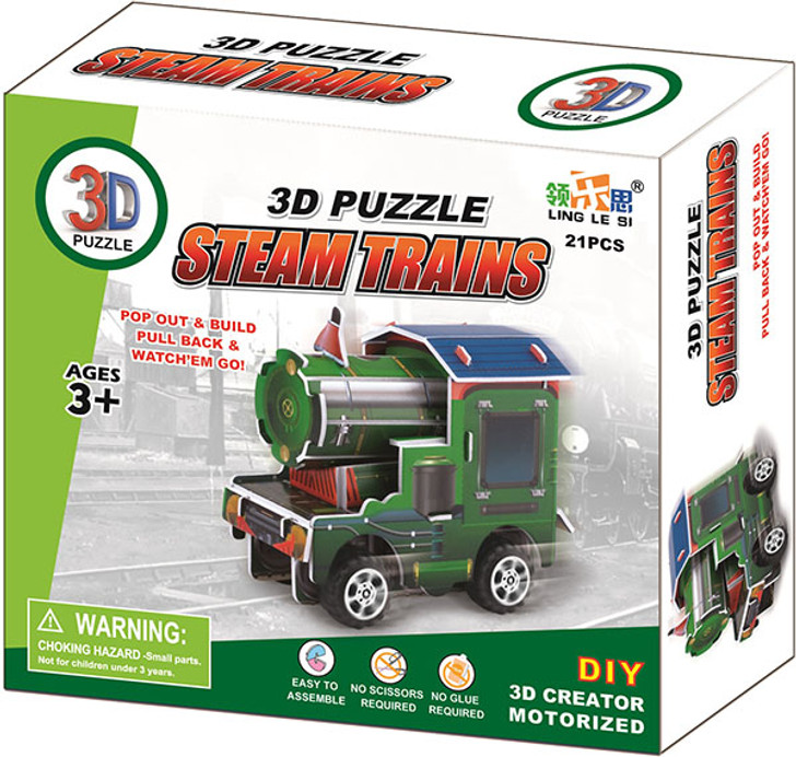 Pull-Back 3D Train Puzzle
