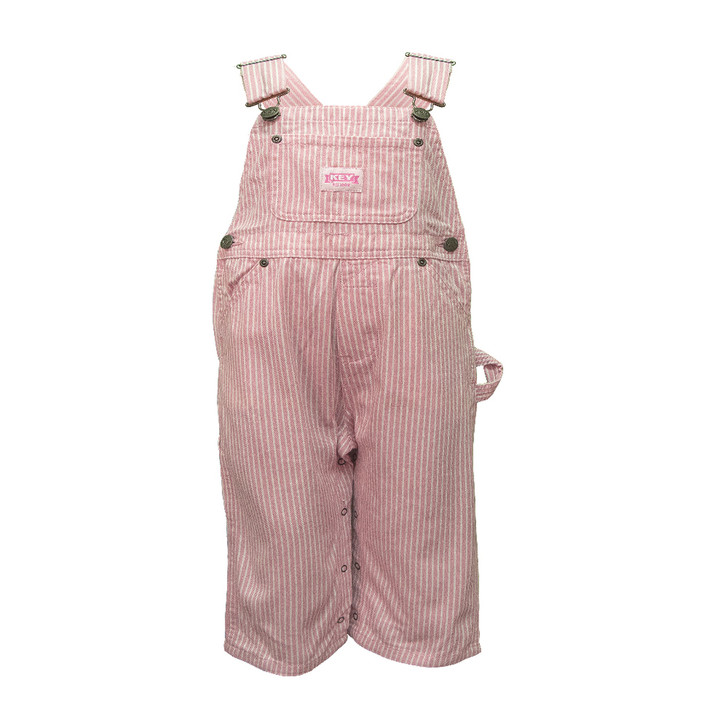 Key Pink Stripe Infant Bib Overall 18 months