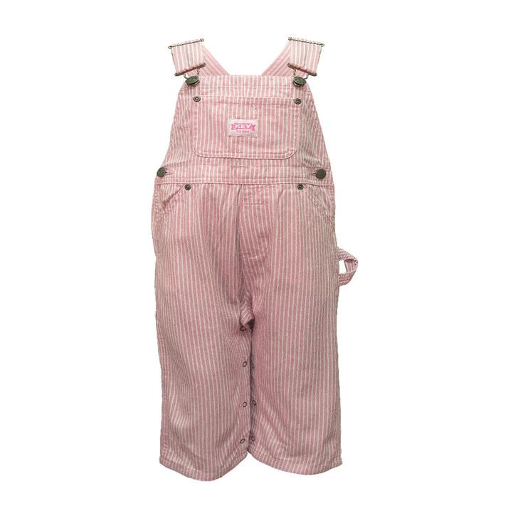 Key Pink Stripe Infant Bib Overall 24 months