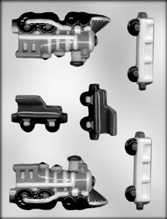 3-D Train Engine & Rail Cars Chocolate Mold