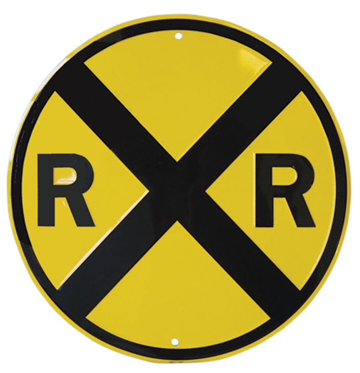 Railroad Crossing Metal Sign Decor