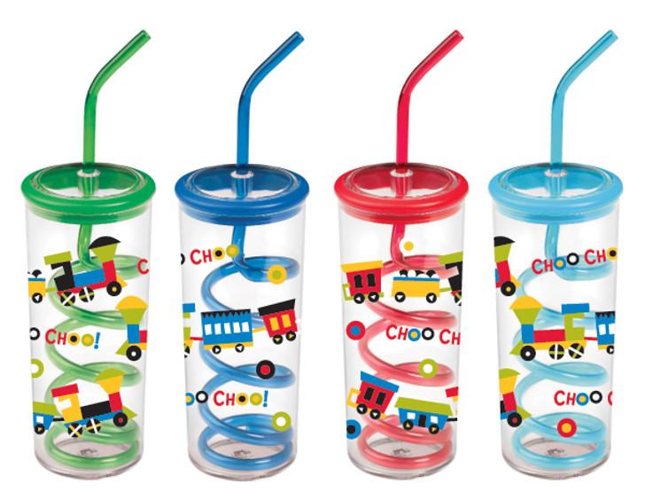 Choo Choo Train Twisty Straw Cups