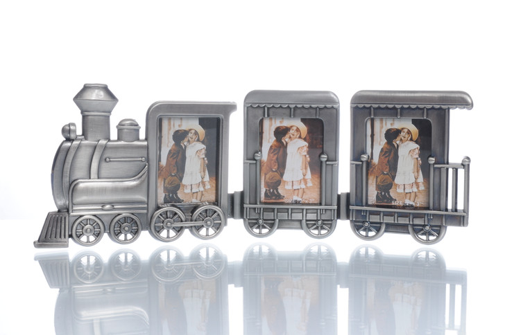 Train Photo Frame 3-pc Pewter Standing