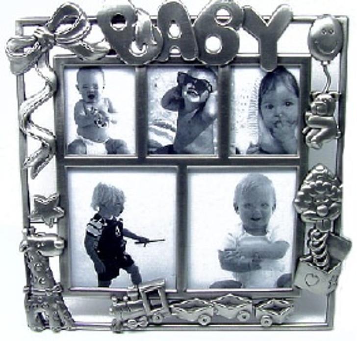 Pewter Baby Train Photo Frame