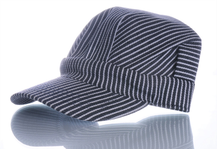 Boys Striped Engineer Hat (Blue) Front