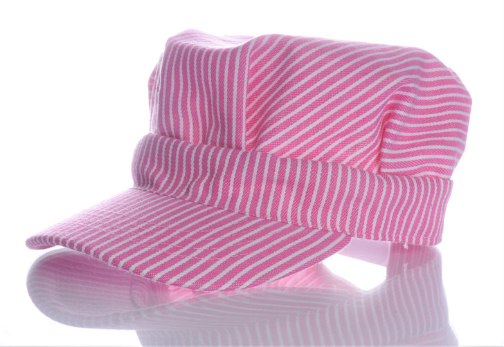 Girls Striped Engineer Hat (Pink) Front