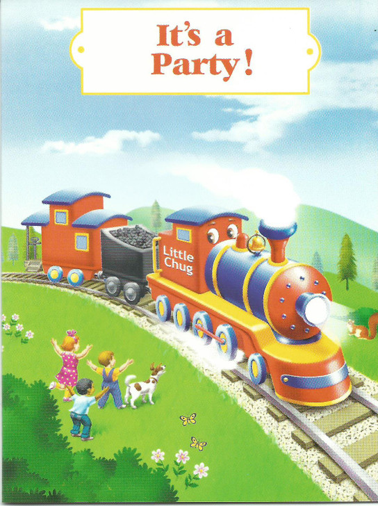 Little Chug Train Party Invitation Cards