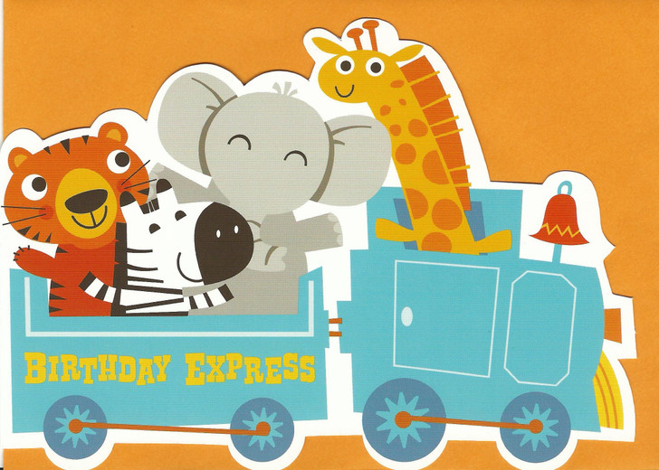 Animal Train Die-Cut Greeting Card
