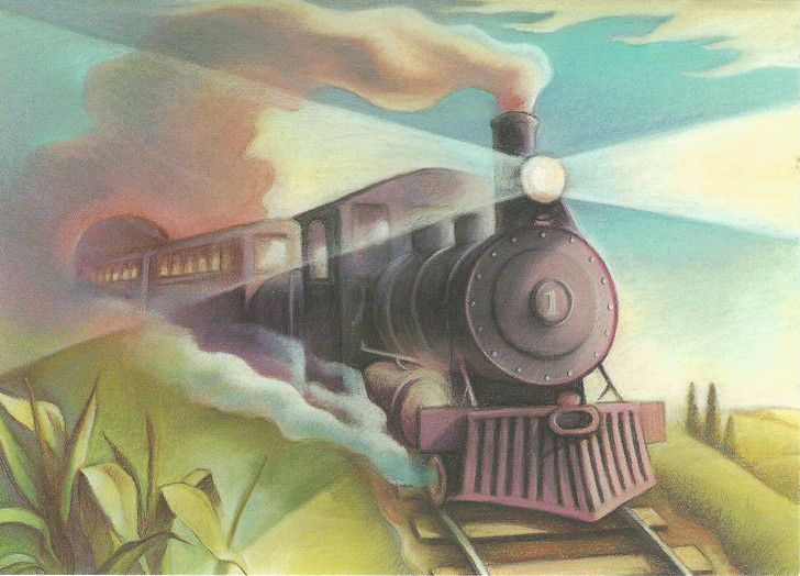 Train With Headlight On Greeting Card