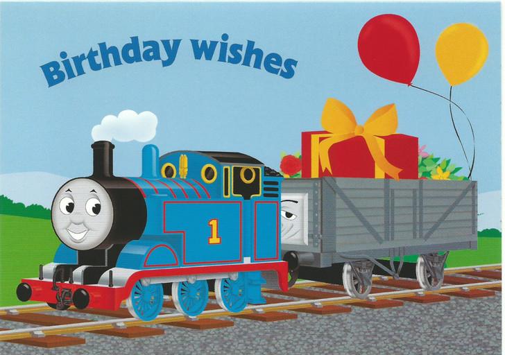Thomas Pulling Presents Birthday Wishes Card