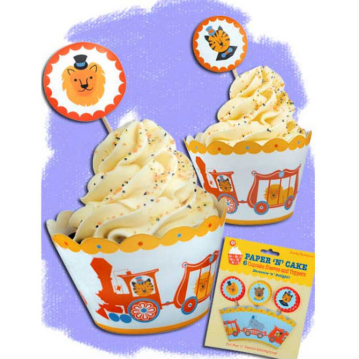 Circus Animal Train Cupcake Sleeves & Toppers