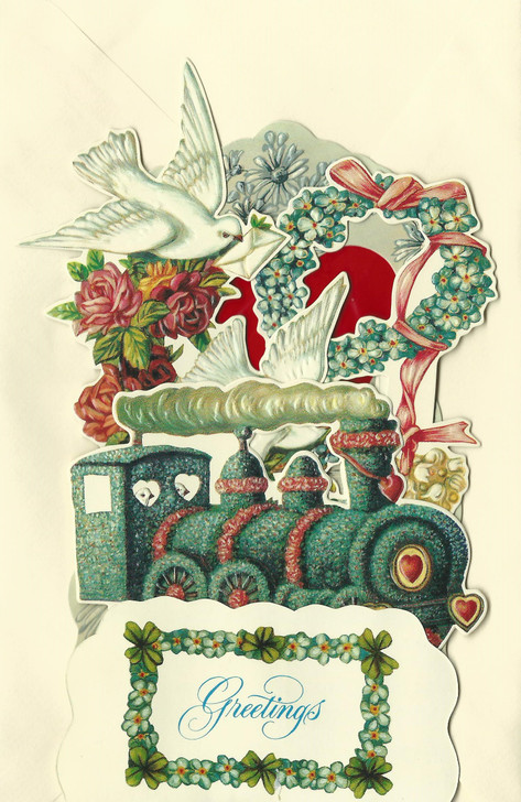 Locomotive & Dove Greeting Card