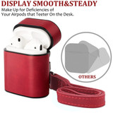 Apple AirPods 1/2 Case Grey Genuine Leather Protective Wireless Earphones Box with Shockproof, Anti Scratch, Strap | Free Delivery across Australia