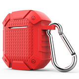 Apple AirPods 1/2 Case Red Armor Silicone Protective Shockproof Cover with Scratch-resistance, Carabiner and Anti-Slip | Free Delivery across Australia