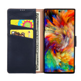 Samsung Galaxy Note 10 Plus Case Navy Fashion Cowhide Genuine Leather Flip Cover with 2 Card Slots, 1 Cash Slot & Shockproof | Genuine Leather Samsung Galaxy Note 10 Plus Covers Cases | Genuine Leather Samsung Galaxy Note 10 Plus Covers