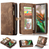 Detachable  Folio Leather Case , Card Slot & Holder & Zipper Wallet & Photo Frame for Galaxy Note 10, Brown