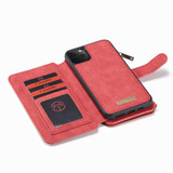 Detachable  Folio Leather Case , Card Slot & Holder & Zipper Wallet & Photo Frame For iPhone 11 Pro Max, Brown