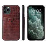iPhone 11 Pro Max Case Crocodile Pattern PU Leather Card Slot Wallet Cover Brown