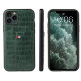 iPhone 11 Pro Max Case Crocodile Pattern PU Leather Card Slot Wallet Cover Green