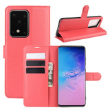 For Galaxy S20 Plus Lychee Texture Folio Protective Case with & Card Slots & Wallet Red | iCoverLover Australia