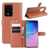 For Galaxy S20 Plus Lychee Texture Folio Protective Case with & Card Slots & Wallet Brown | iCoverLover Australia