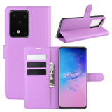 For Galaxy S20 Plus Lychee Texture Folio Protective Case with & Card Slots & Wallet Purple | iCoverLover Australia