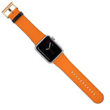 Apple Watch Band (44,42,40,38mm) Vegan Leather Strap Gold Buckle, iWatch Orange | iCoverLover