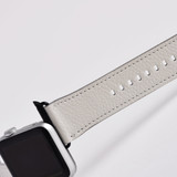 Apple Watch Band (44,42,40,38mm) Vegan Leather Strap Black Buckle, iWatch White | iCoverLover
