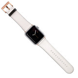 Apple Watch Band (44,42,40,38mm) Vegan Leather Strap Rose Gold Buckle, White | iCoverLover